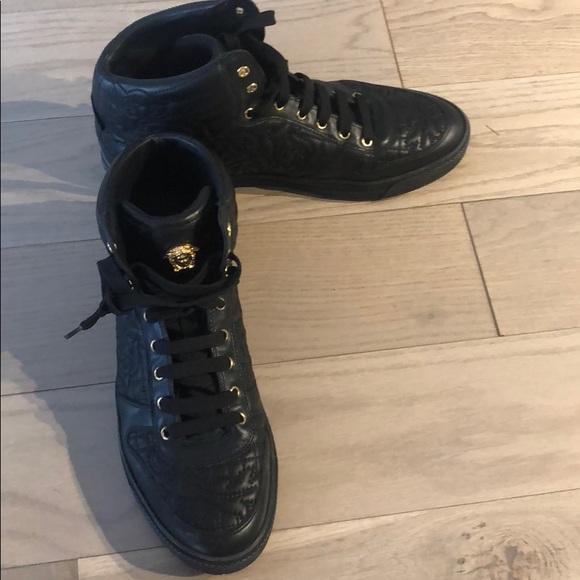 Black and gold Versace men's high top sneaker